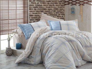 Бежевое постельное белье «CARMELA» с голубой клеткой, поплин, двуспальное в интернет-магазине Моя постель