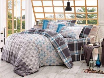 Двуспальное постельное белье из поплина «BELEN», серое с принтом ромбов в интернет-магазине Моя постель