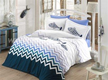 Постельное белье евро размера «OCEAN» из поплина, синее в интернет-магазине Моя постель