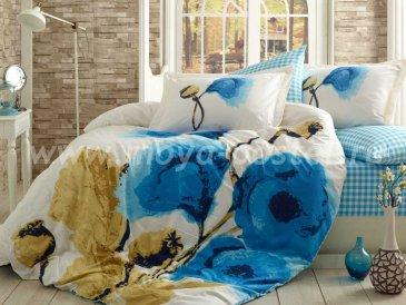 Постельное белье «MIRAY» из поплина, евро, голубые маки в интернет-магазине Моя постель