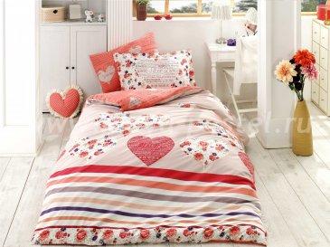 Семейное постельное белье из поплина «BELLA», красного цвета в интернет-магазине Моя постель
