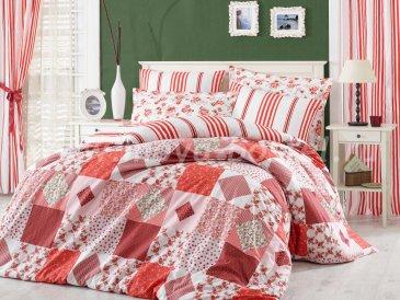 Комплект красного постельного белья из поплина «CLARA» с клетчатым узором, полутороспальный в интернет-магазине Моя постель