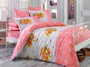 """Семейный комплект из поплина персиковый  ALVIS"""", персиковый в интернет-магазине Моя постель"""