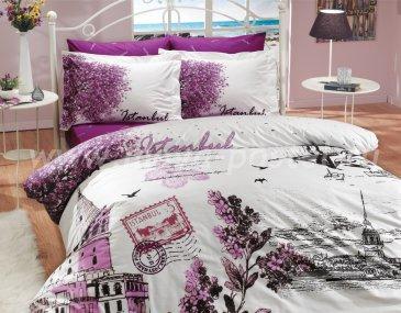 Фиолетовое постельное белье «ISTANBUL PANAROMA» с изображением города Стамбула, поплин, двуспальное в интернет-магазине Моя постель
