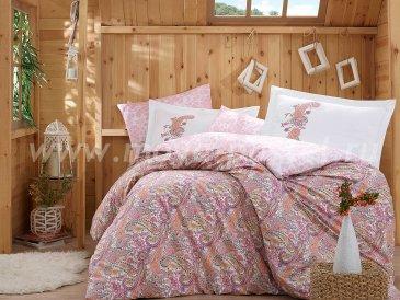 Полуторный комплект постельного белья из поплина «GIULIA» с восточным узором, розовый в интернет-магазине Моя постель