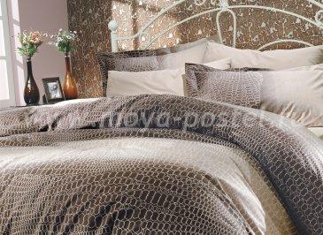 Коричневое постельное белье из поплина «ESTELA» с рисунком под натуральную кожу, полутороспальное в интернет-магазине Моя постель