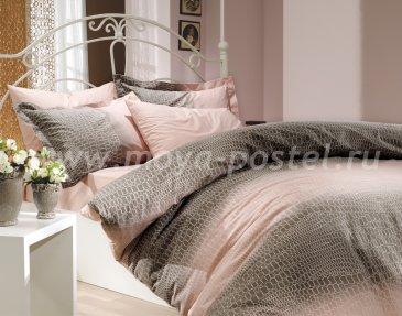 Кремовое постельное белье из поплина «ESTELA» с рисунком под натуральную кожу, полутороспальное в интернет-магазине Моя постель