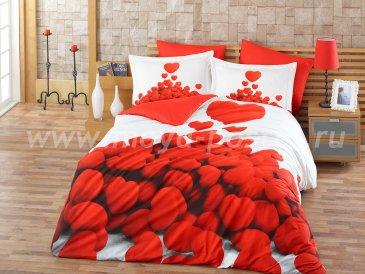 Постельное белье с красным 3D принтом «ROMANTIC», евро, поплин в интернет-магазине Моя постель