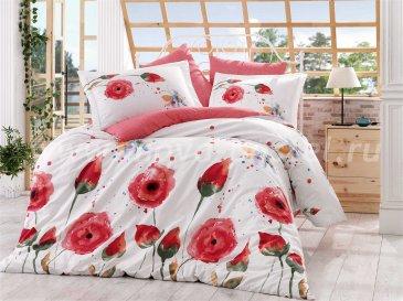 Постельное белье с красными цветами «VERONIKA», евро размер, поплин в интернет-магазине Моя постель
