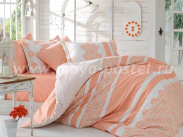 Постельное белье из поплина «LISA» персикового цвета с цветочным орнаментом, двуспальное в интернет-магазине Моя постель