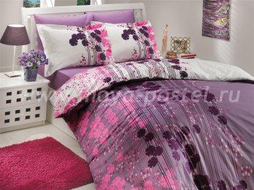 Полуторный комплект постельного белья «VENTURA» из поплина, лиловый в интернет-магазине Моя постель