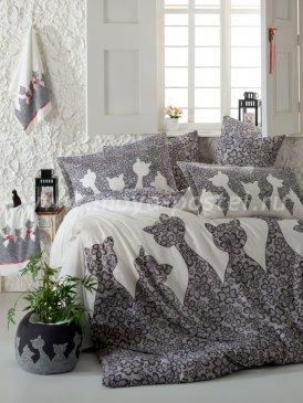 Серое постельное белье JAZZ с кошками, евро в интернет-магазине Моя постель