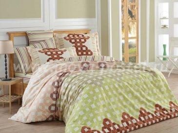 Коричневое постельное белье «MARSELLA» с геометрическим узором и полосами, поплин, двуспальное в интернет-магазине Моя постель