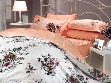 Персиковое постельное белье из поплина «CARMEN» с цветочным принтом, полутороспальное в интернет-магазине Моя постель