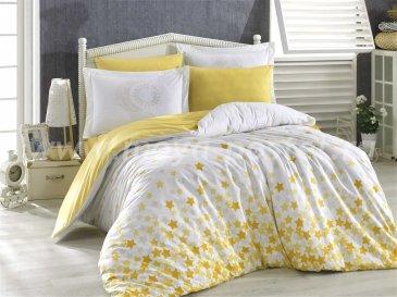 Постельное белье желтого цвета «STAR'S», поплин, евро размер в интернет-магазине Моя постель