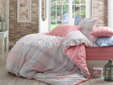 Комплект полутороспального постельного белья из поплина «CARMELA», розовый с голубой клеткой в интернет-магазине Моя постель