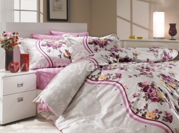 Постельное белье из поплина «SUSANA» лилового цвета, семейное в интернет-магазине Моя постель