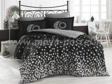 Черное постельное белье «STAR'S», поплин, полутороспальное в интернет-магазине Моя постель