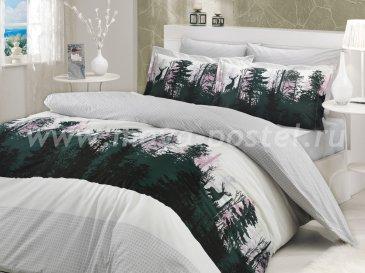 Постельное белье «TIERRA» семейное из поплина, в сером цвете в интернет-магазине Моя постель