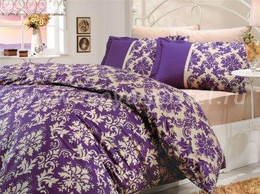Двухцветный полуторный комплект постельного белья из поплина «AVANGARDE», фиолетовый и беж в интернет-магазине Моя постель