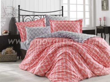 Коралловое постельное белье из поплина «NAZENDE» с зигзагами, полутороспальное в интернет-магазине Моя постель