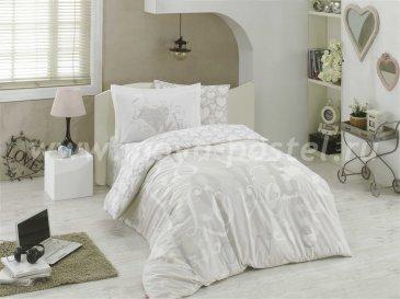 Серое постельное белье «LOVE» из поплина, полутороспальное в интернет-магазине Моя постель