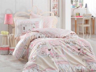 Розовое постельное белье «SONIA», поплин, полутороспальное в интернет-магазине Моя постель