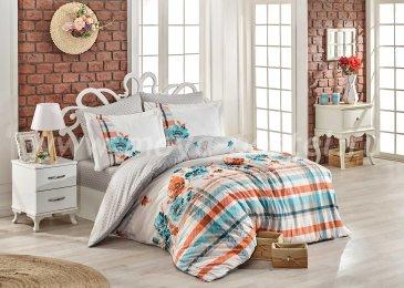 Серое постельное белье «NORMA» евро размера, поплин в интернет-магазине Моя постель