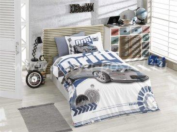 Синее постельное белье из поплина «DRIFT» с реалистичным автомобильным принтом, полутороспальное в интернет-магазине Моя постель