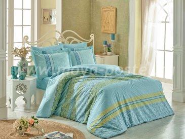 Постельное белье с орнаментом «EMMA» в бирюзовом цвете, полутороспальное, поплин в интернет-магазине Моя постель
