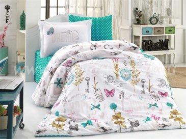 Полуторное постельное белье «ROSELLA», белый и зеленый, поплин в интернет-магазине Моя постель