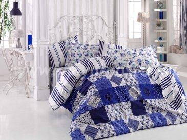 Комплект синего постельного белья из поплина «CLARA» с клетчатым узором, полутороспальный в интернет-магазине Моя постель