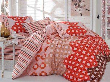 Красное постельное белье «MARSELLA» с геометрическим узором и полосами, поплин, двуспальное в интернет-магазине Моя постель