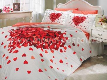 Постельное белье евро размера «JUANA» с красными сердцами, поплин в интернет-магазине Моя постель