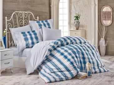 Синее постельное белье из поплина «DEBORA» в клетку, полутороспальное в интернет-магазине Моя постель