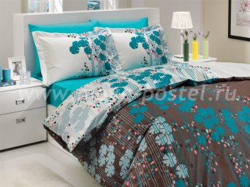 Полуторный комплект постельного белья «VENTURA» из поплина, бирюзовый в интернет-магазине Моя постель