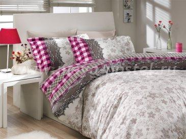 Постельное белье евро размера «SERENA», серое, поплин в интернет-магазине Моя постель