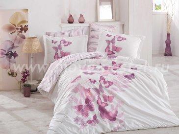 Постельное белье евро размера «SUENO», поплин, белое с лиловым рисунком в интернет-магазине Моя постель