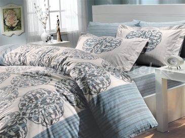 Бирюзовое постельное белье евро размера «BELINDA», поплин в интернет-магазине Моя постель