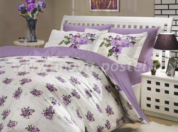 Лиловое постельное белье из поплина «PARIS SPRING», двуспальное в интернет-магазине Моя постель