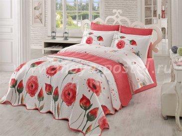Постельное белье «VERONIKA» с красными цветами, поплин, полутороспальное в интернет-магазине Моя постель