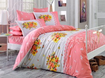 Персиковый комплект ALVIS с цветами, евро в интернет-магазине Моя постель