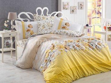 Постельное белье из поплина «FIESTA» желтое в полоску, евро размер в интернет-магазине Моя постель
