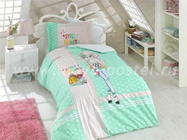 Постельное белье «STREET FASHION» из поплина, мятное, полуторное в интернет-магазине Моя постель