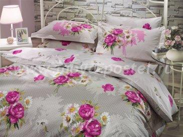 Светло-серое постельное белье из поплина «CALVINA» с яркими розовыми цветами, полуторное в интернет-магазине Моя постель