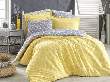 Желтое постельное белье из поплина «NAZENDE» с зигзагами, евро размер в интернет-магазине Моя постель