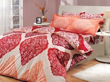 Красное постельное белье из поплина «AMANDA» с орнаментом в виде ромбов, полутороспальное в интернет-магазине Моя постель