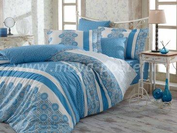 Постельное белье из поплина «LISA» синего цвета с цветочным орнаментом, двуспальное в интернет-магазине Моя постель