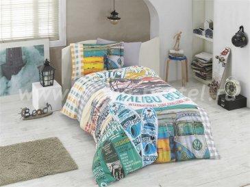 Полутороспальное постельное белье «MALIBU BEACH» с принтом на пляжную тематику, мультиколор, поплин в интернет-магазине Моя постель