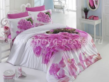 Постельное белье евро размера с цветочным принтом «LOVE STORY», розовое, поплин в интернет-магазине Моя постель
